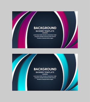 Set of abstract geometric banner backgrounds