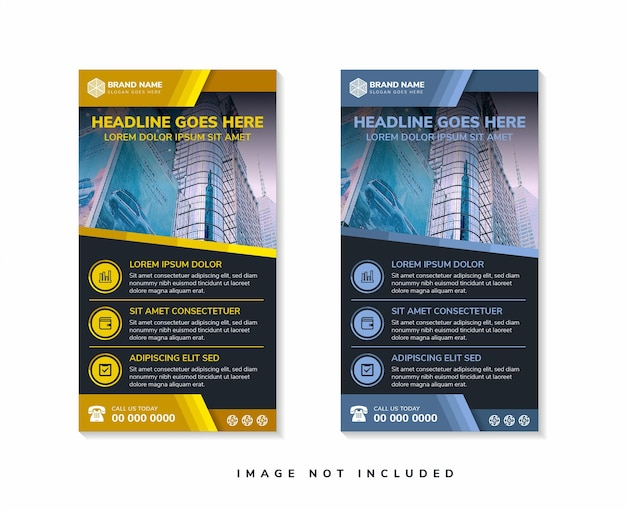 Set of abstract geometric banner template vertical layout combined with multicolored gold and blue
