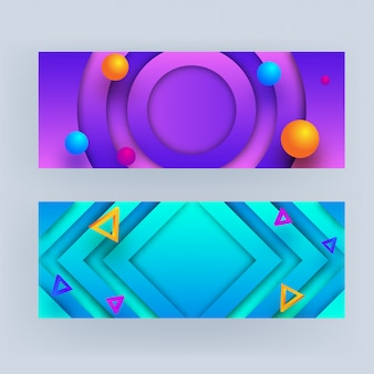 Set of abstract geometric banner