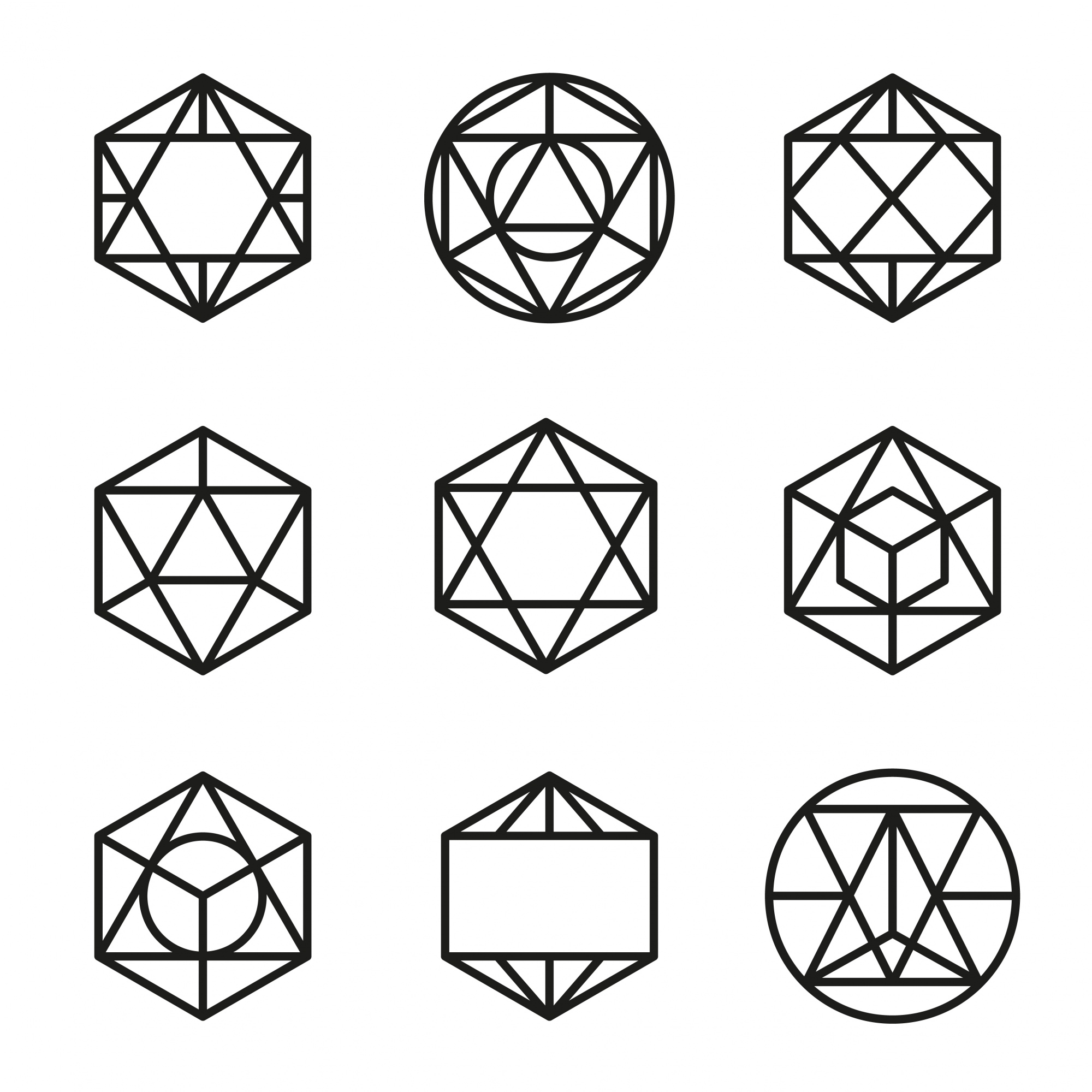 Set abstract geometric forms vector