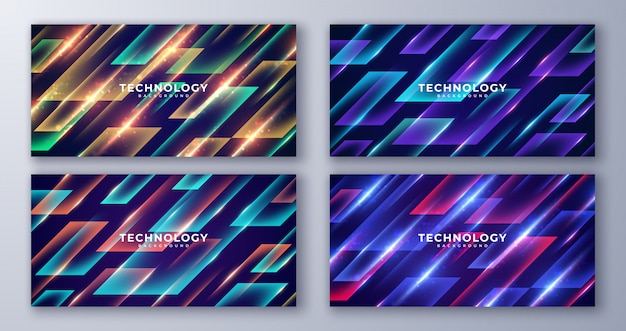Set of abstract geometric futuristic background.