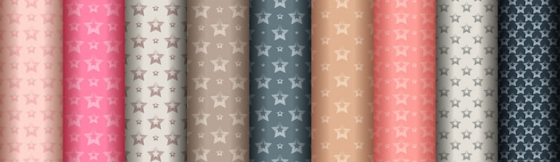 Set of abstract geometric lines stylish seamless patterns