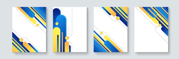 Set of abstract geometric minimal vector posters in neo-memphis, bauhaus, vaporwave style. collection of retro futuristic covers for club party, music concert, bar promo
