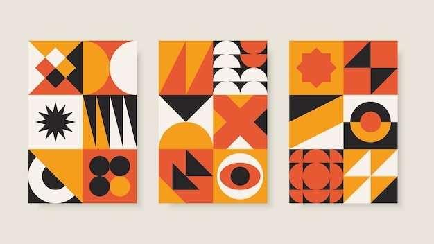 Set of abstract geometric posters in bauhaus style
