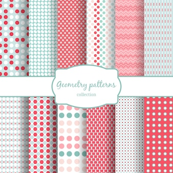 Set of abstract geometric seamless patterns. polka dots and wavy, line.
