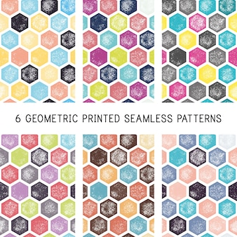 Set of abstract geometric seamless patterns. printed / block print backgrounds. grunge retro hexagon wallpapers.