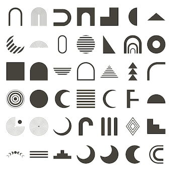 Set of abstract geometric shapes. black silhouette. boho elements rainbow, arch, moon phases. signs for posters, banners and posters. vector illustration.