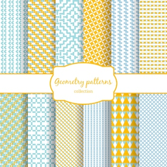 Set of abstract geometric vector seamless patterns yellow, blue and white.
