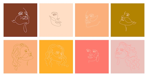 Set of abstract girl portraits in one line style.