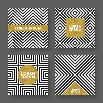 Set of abstract  , glitter gold banner on a black and white geometric striped background.