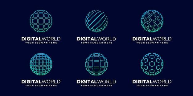 Set of abstract global data digital logo design vector template.