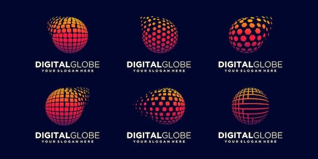 Set of abstract global digital logo design vector template.