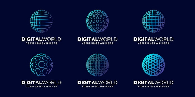 Set of abstract global logo design vector template.