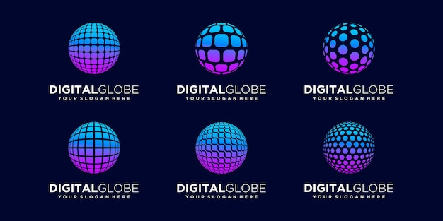 Set of abstract global technology logo design vector template.