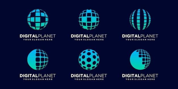 Set of abstract globe data digital logo design vector template.
