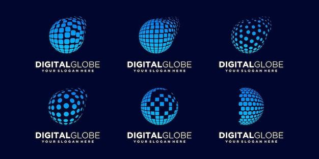 Set of abstract globe technology logo design vector template.