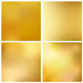 Set of abstract gold texture square backgrounds