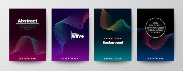 Set of abstract gradient colorful wave shape on dark background.