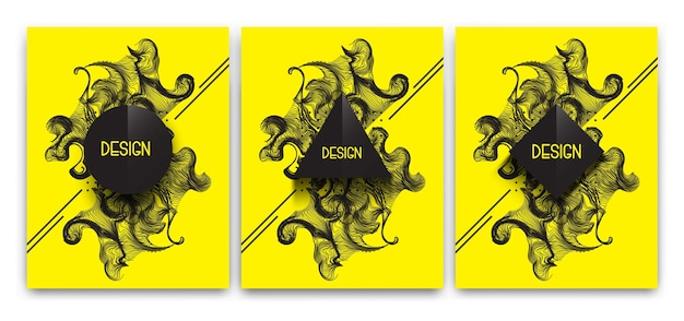 Set of abstract graphic geometric illustration for banner