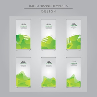 Set of abstract green roll up banner design.