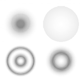Set of abstract halftone design elements.