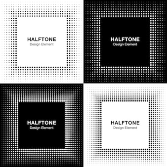 Set of abstract halftone square frame