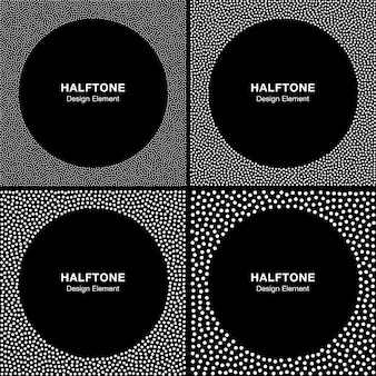 Set of abstract halftone white dots frames