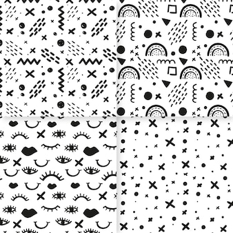 Set of abstract hand drawn pattern