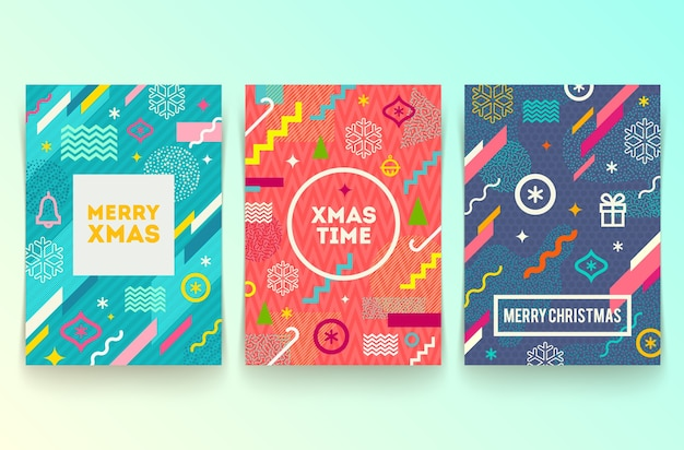 Set of abstract holidays banners with multicolored geometric shapes