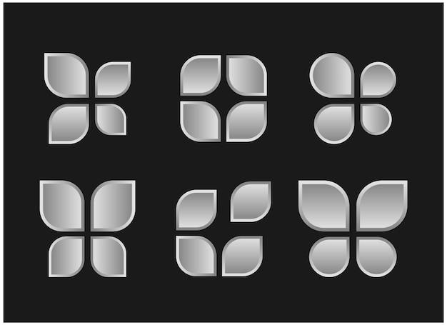 Установить абстрактный значок серебро 3d дизайн логотипа