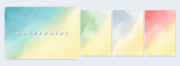 Set of abstract illustrations design bright colorful watercolor yellow gradients