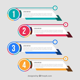 Set of abstract infographic banners with color details