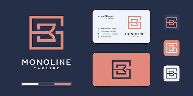 Set of abstract initial b & g or b g monogram logo design, icons for business or branding.
