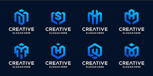 Set of abstract initial in hexagon shape logo bundle