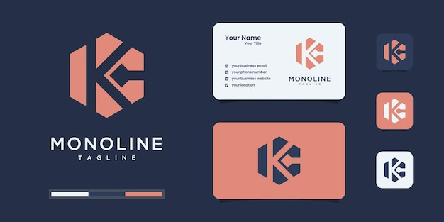 Set of abstract initial k & c or kc monogram logo design, icons for business or branding.
