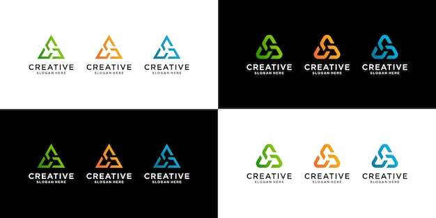 Set of abstract initial letter ac triangle logo template. i