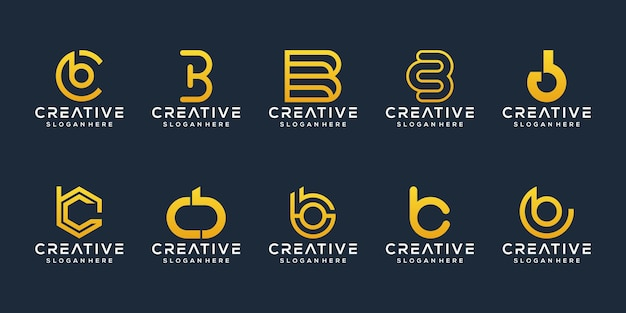Set of abstract initial letter b c logo template