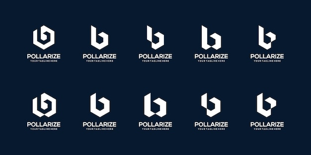 Set of abstract initial letter b logo design template. icons for business of building, construction