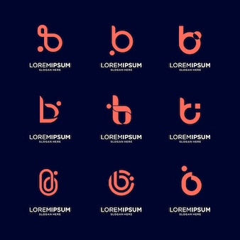 Set of abstract initial letter b logo template. icons for business of luxury, elegant, simple.