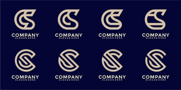 Set of abstract initial letter c and s logo template