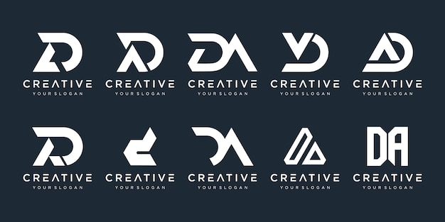 Set of abstract initial letter d, a logo  template. icons for business of fashion, sport, automotive, simple.