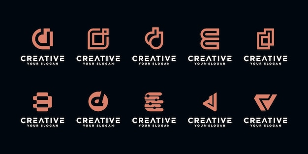Set of abstract initial letter d, logo  template. icons for business of luxury,elegant,simple.