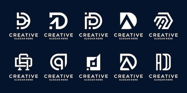 Set of abstract initial letter d, a logo template.