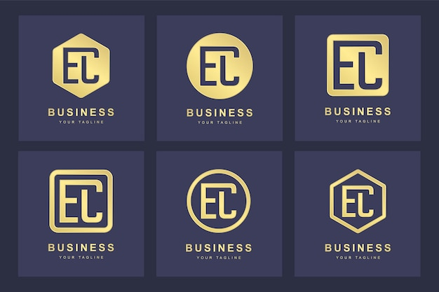 Set of abstract initial letter e c ec logo template.
