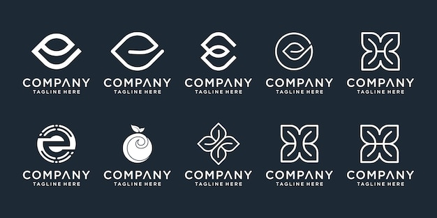 Set of abstract initial letter e and h logo  template. icons for business of luxury, nature, spa, simple.