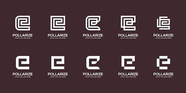 Set of abstract initial letter e logo design template.
