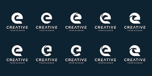 Set of abstract initial letter e logo template.