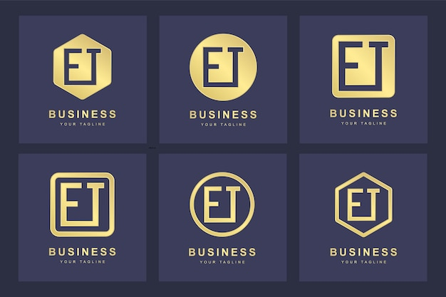 Set of abstract initial letter e t et logo template.