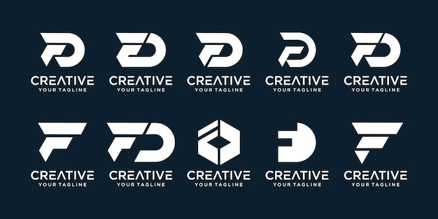 Set of abstract initial letter f, d logo template.