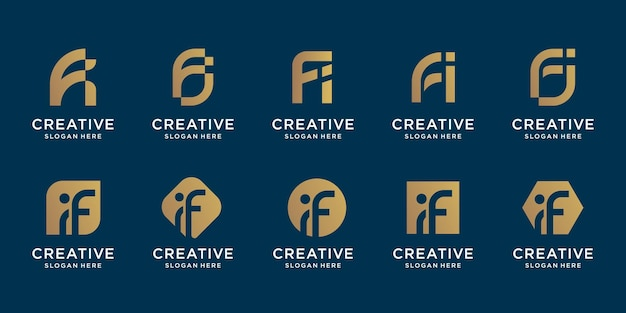 Set of abstract initial letter f and letter i combination logo template